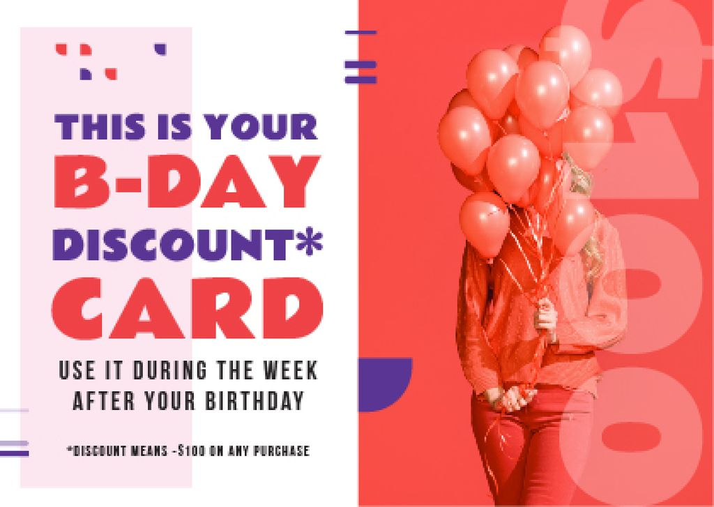 Birthday Discount Girl Holding Balloons in Red — Create a Design