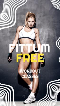 Template di design Sportive Young Woman in Gym Instagram Video Story