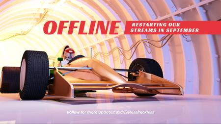 Ontwerpsjabloon van Twitch Offline Banner van Racer on Modern Car in Tunnel