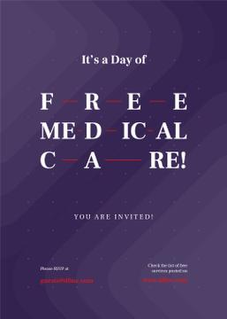Free Medical Care Day announcement on Purple pattern