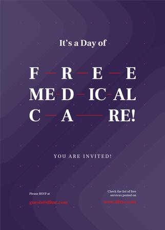 Plantilla de diseño de Free Medical Care Day announcement on Purple pattern Invitation
