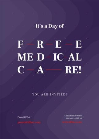 Free Medical Care Day announcement on Purple pattern Invitation Tasarım Şablonu