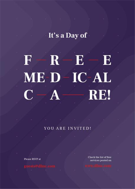 Szablon projektu Free Medical Care Day announcement on Purple pattern Invitation