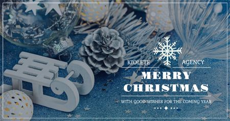 Plantilla de diseño de Christmas Greeting with White Sleigh Facebook AD