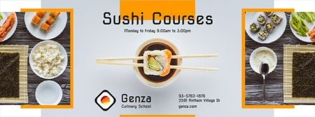 Modèle de visuel Sushi Courses Ad with Fresh Seafood - Facebook cover
