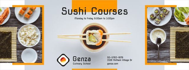 Designvorlage Sushi Courses Ad with Fresh Seafood für Facebook cover