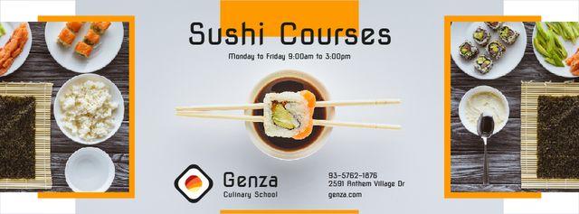 Plantilla de diseño de Sushi Courses Ad with Fresh Seafood Facebook cover