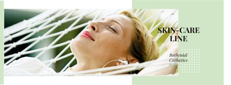 Plantilla de diseño de Skincare Ad with Woman Resting in Hammock Facebook cover
