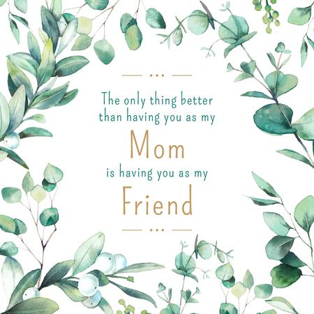 Mother's Day Quote Green Leaves Frame Instagram Tasarım Şablonu