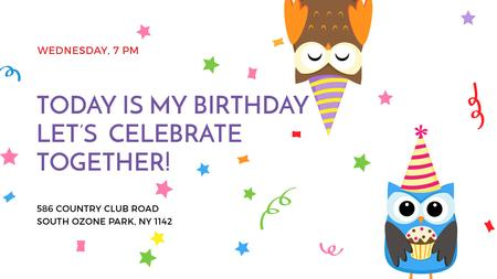 Plantilla de diseño de Birthday Invitation with Party Owls Title