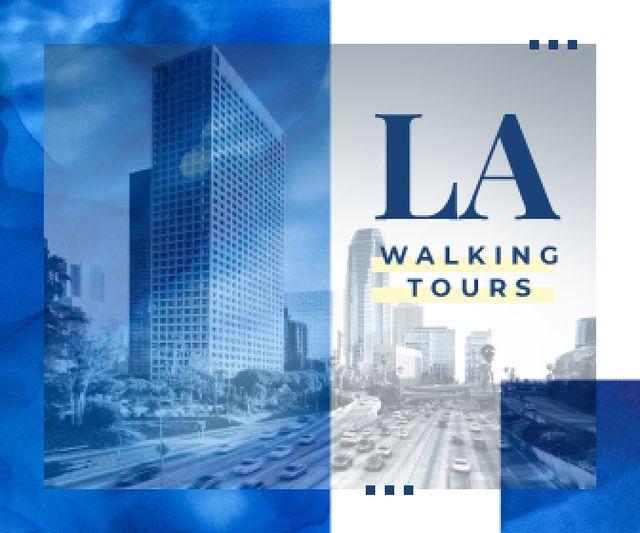 Plantilla de diseño de Los Angeles City Tours Offer in Blue Large Rectangle