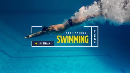 Plantilla de diseño de Swimming Lessons Ad with Swimmer Diving Youtube