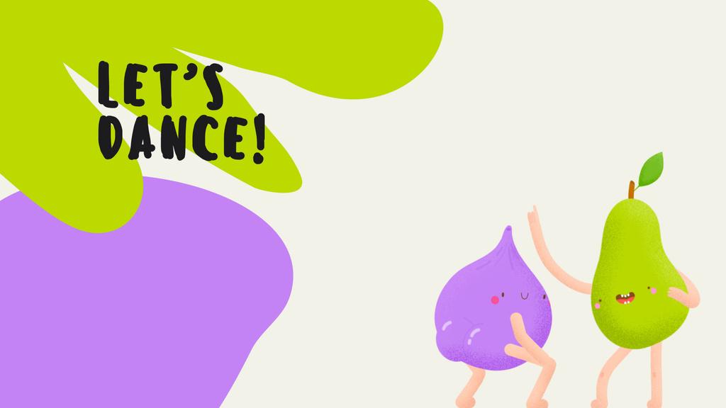 Funny bright dancing Pear and Plum — Создать дизайн
