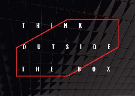 Designvorlage Think outside the box Quote on black tiles für Postcard