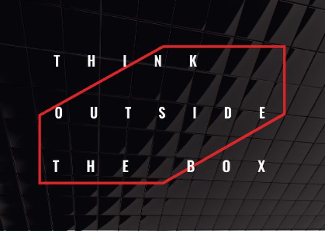 Think outside the box Quote on black tiles Postcard Modelo de Design