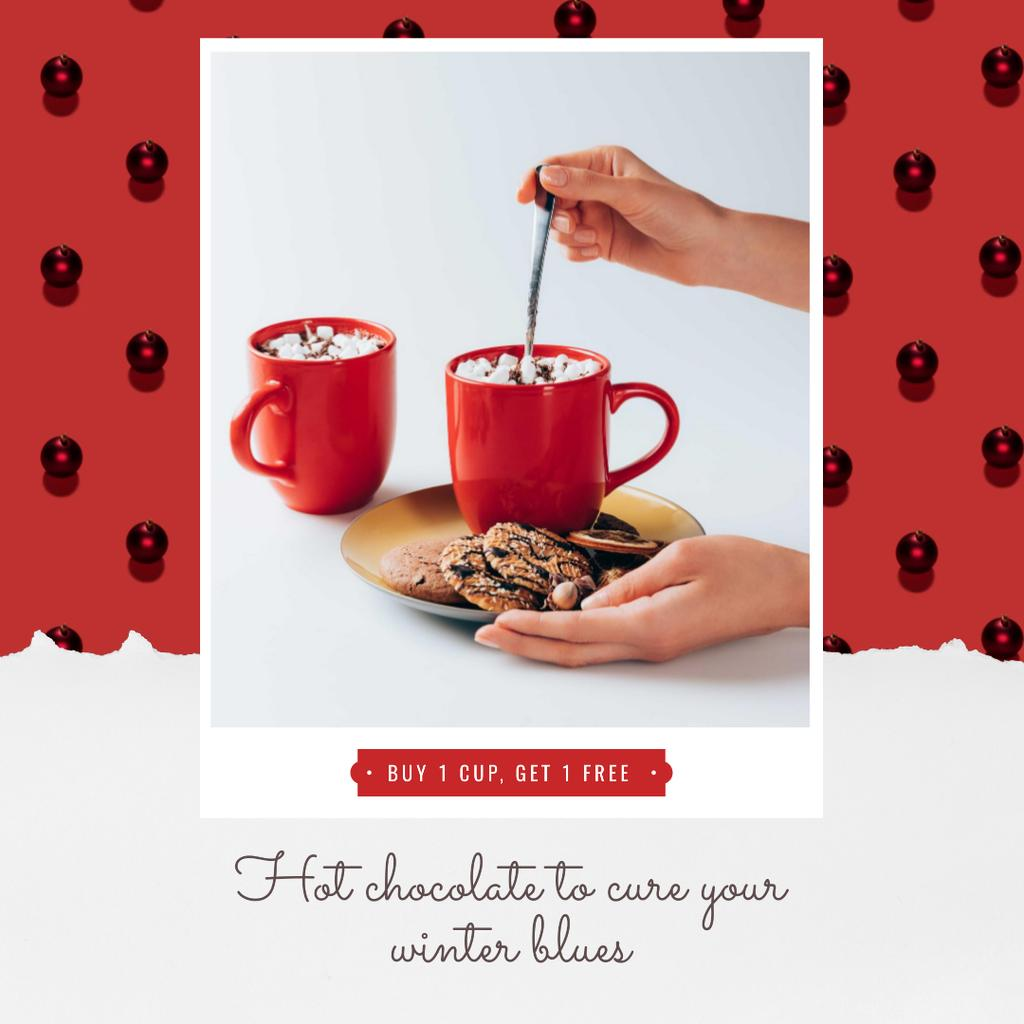 Christmas Offer Hands with Cup and Gingerbread — Создать дизайн