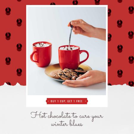 Christmas Offer Hands with Cup and Gingerbread Animated Post Design Template