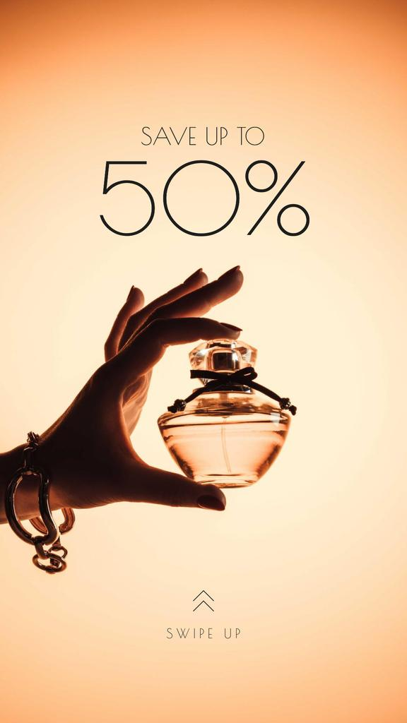 Sale Offer with Woman Holding Perfume Bottle —デザインを作成する