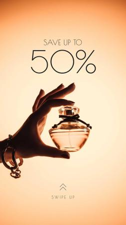 Sale Offer with Woman Holding Perfume Bottle Instagram Story Modelo de Design