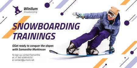 Snowboarding Lessons Promotion with Rider on Board Twitter Design Template