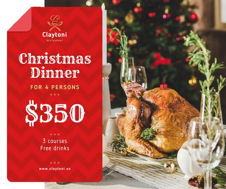 Christmas Dinner whole Roasted Turkey Facebook Modelo de Design