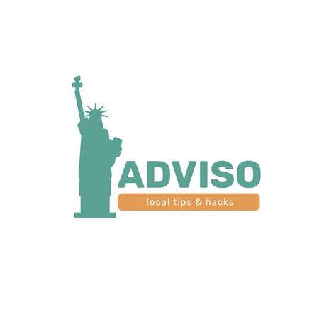 Travelling Tips with Statue of Liberty Icon Logo Modelo de Design