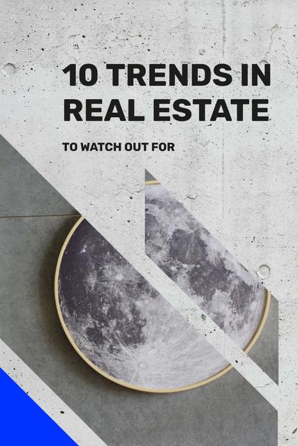 Modèle de visuel Real Estate Tips with Moon print - Pinterest