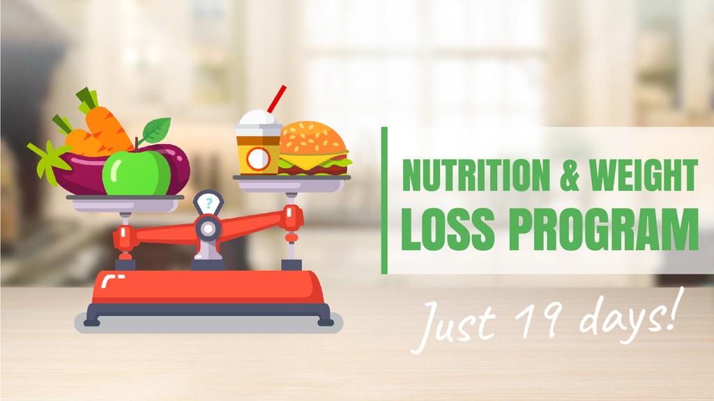 Healthy Nutrition Scales Healthy and Fast Food — Modelo de projeto