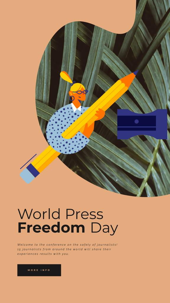 Press Freedom Day Woman Sharpening Giant Pencil | Vertical Video Template — Crear un diseño