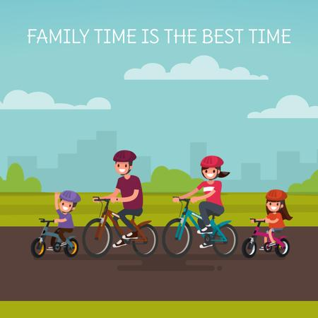 Plantilla de diseño de Family on a bicycle ride Animated Post