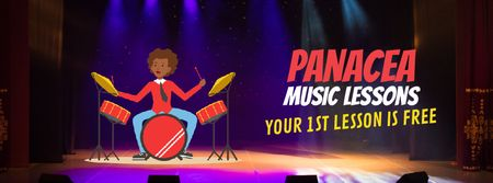 Plantilla de diseño de Student playing drums on stage Facebook Video cover