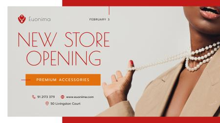 Store Opening announcement Woman in Suit FB event cover Modelo de Design