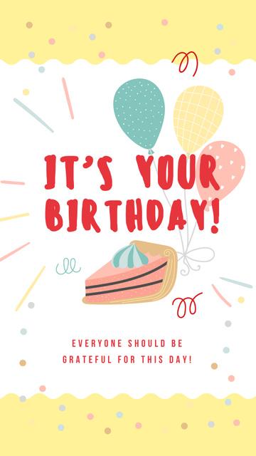 Piece of cake with balloons Instagram Story – шаблон для дизайну