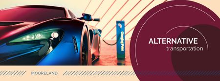 Charging electric car Facebook cover Modelo de Design