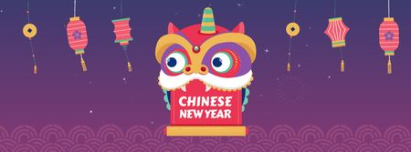 Chinese New Year dragon Facebook Video cover – шаблон для дизайна