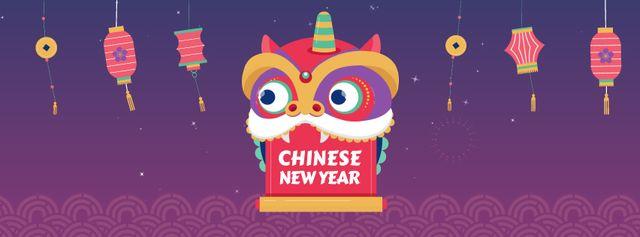 Chinese New Year dragon Facebook Video cover – шаблон для дизайну