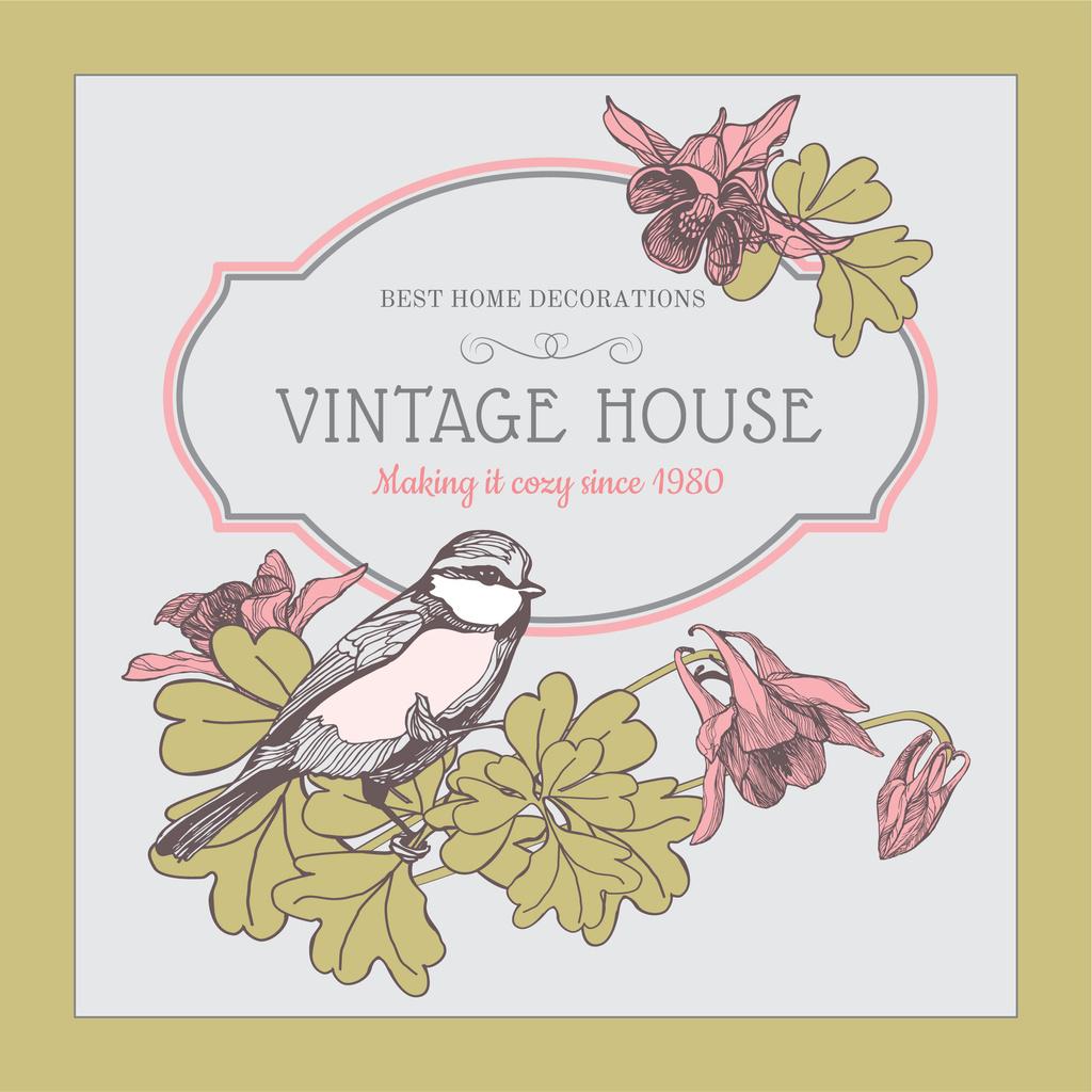 Home decor shop Ad with Bird illustration — Maak een ontwerp