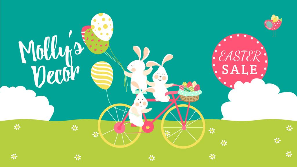 Easter Sale Bunnies on Bicycle with Colored Eggs — Modelo de projeto