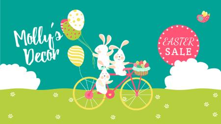 Modèle de visuel Easter Sale Bunnies on Bicycle with Colored Eggs - Full HD video