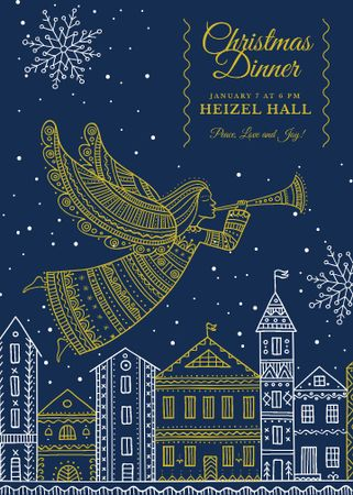 Plantilla de diseño de Christmas Dinner Invitation Angel over City Flayer