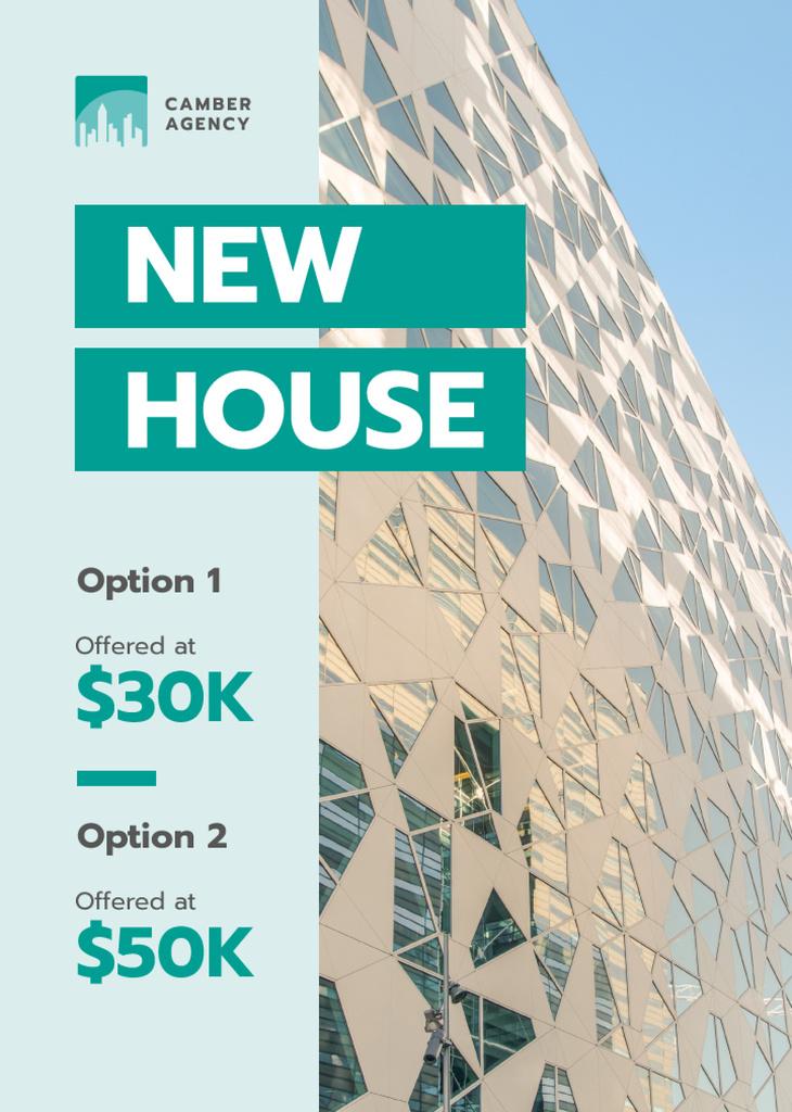 Real Estate Offer Glass Building Facade Flayer Modelo de Design