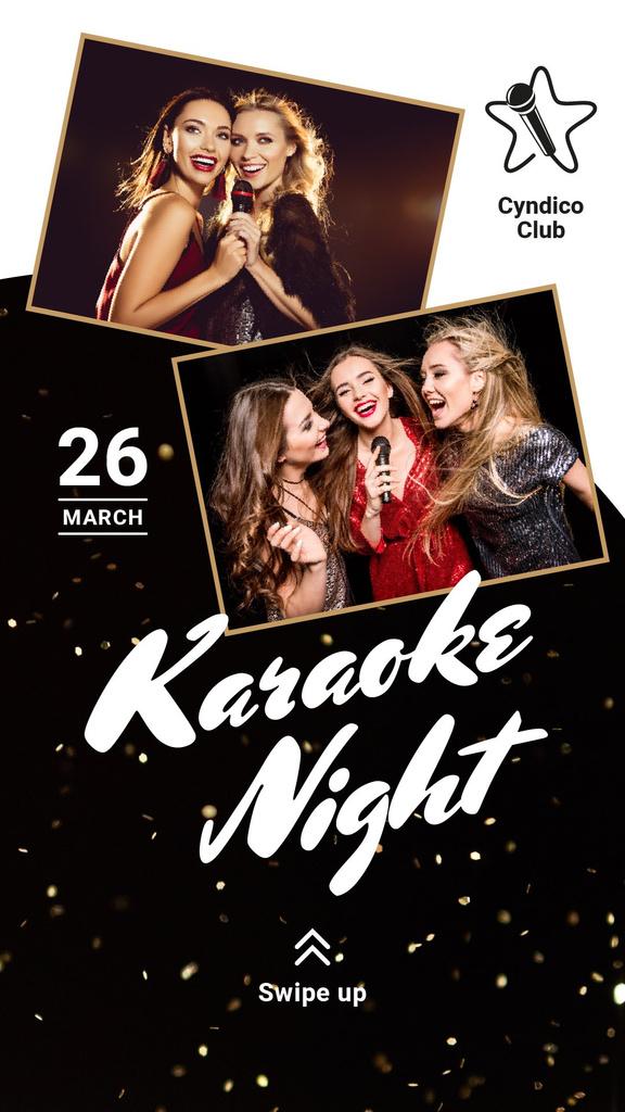 Template di design Karaoke Club Invitation Girls Singing with Mic Instagram Story