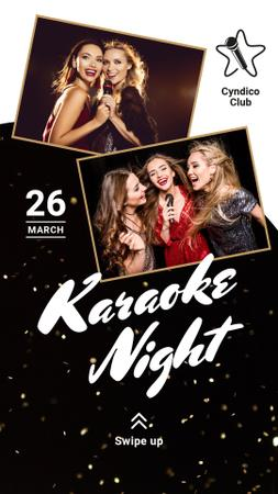 Karaoke Club Invitation Girls Singing with Mic Instagram Story Modelo de Design