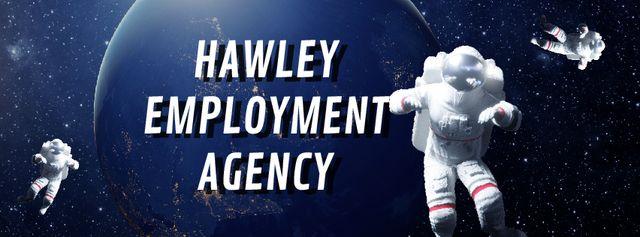 Recruitment services Astronauts in outer space Facebook Video cover Modelo de Design
