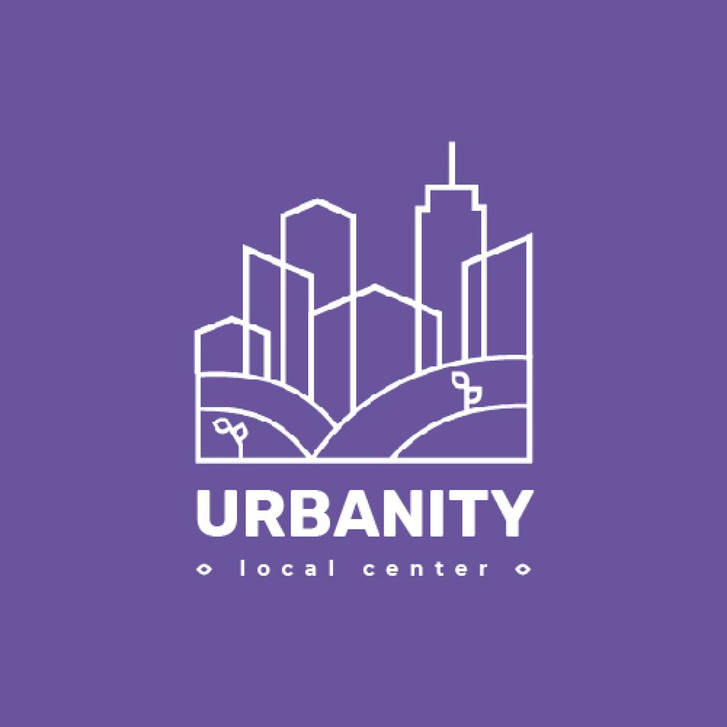 Urban Planning Company Building Silhouette in Purple — ein Design erstellen