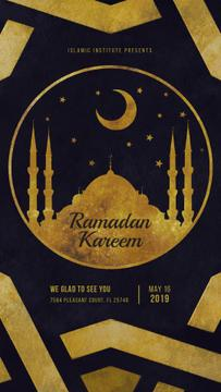 Ramadan Kareem Greeting Golden Mosque New Moon | Vertical Video Template