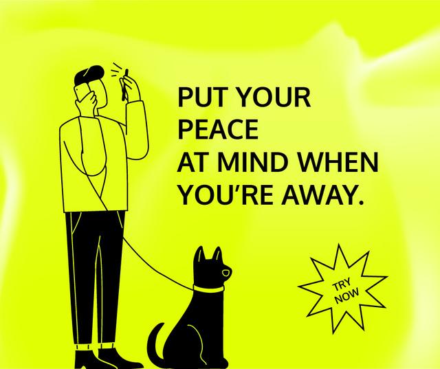 Tracking Application promotion with Man walking Dog Facebook – шаблон для дизайну