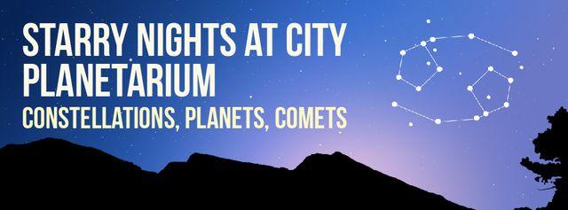 Modèle de visuel Night sky with Cancer constellation - Facebook Video cover