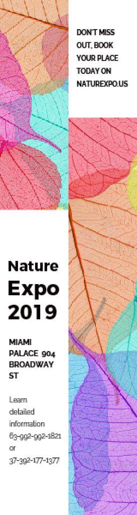 Plantilla de diseño de Nature Expo Announcement Colorful Leaves Texture Skyscraper