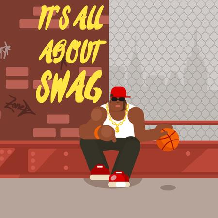 African American Man Playing Basketball Animated Postデザインテンプレート